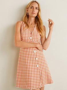 mango-gingham-check-button-front-mini-dress-orange