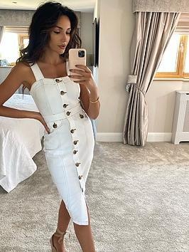 michelle-keegan-contrast-stitch-denim-pencil-dress-white