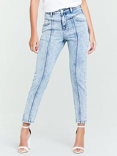 michelle-keegan-panel-detail-mom-jean-acid-wash