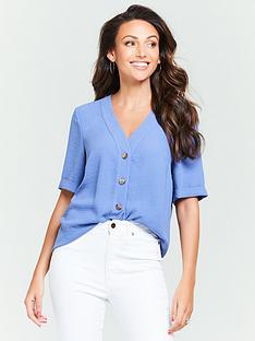 11af7f549c0fc5 Michelle Keegan Turnback Cuff Casual Blouse - Denim Blue