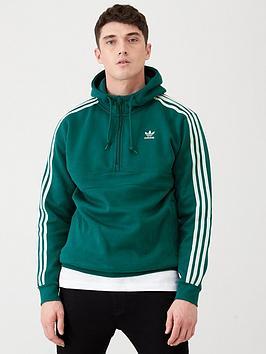 adidas-originals-3-stripe-half-zip-hoodie-green