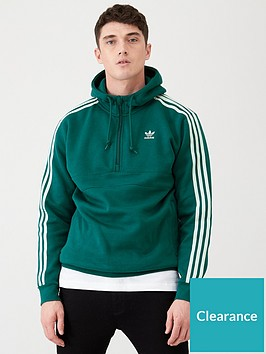 adidas-originals-3-stripe-half-zip-hoodie-green