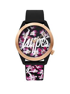 hype-hype-floral-dial-black-floral-printed-sillicone-strap-ladies-watch