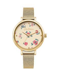 cath-kidston-cath-kidston-brampton-ditsy-gold-dial-gold-mesh-strap-ladies-watch