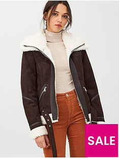 v-by-very-suedette-faux-shearling-short-jacket-chocolate