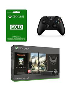 xbox-one-x-xbox-one-x-division-2-xbox-live-12-month-gold-membership-card-xbox-one-wireless-controller-black