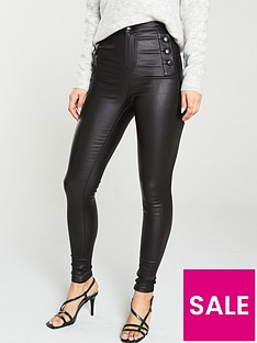 v-by-very-ella-high-waisted-coated-button-detail-skinny-jeans-black