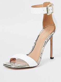 3079e657a River Island River Island Croc Detail Barely There Heel Sandals - White