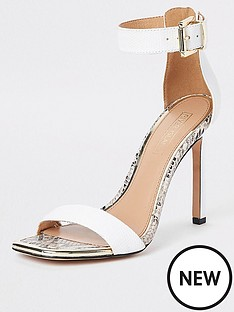 b6979f10aaf River Island River Island Croc Detail Barely There Heel Sandals - White