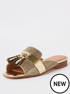 7694d991452 River Island River Island Peep Toe Tassel Sandals - Gold