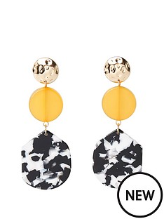 d1c2d0202e2 River Island River Island Mono Print Drop Circle Earrings - Gold