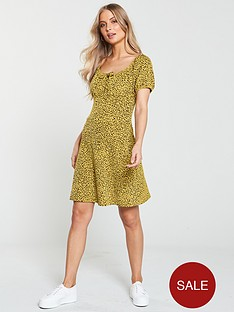 v-by-very-puff-sleeve-textured-mini-dress-leopard