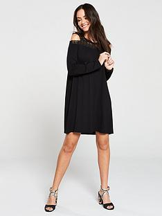v-by-very-lace-panel-mini-dress-black