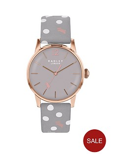 radley-radley-vintage-grey-and-rose-gold-detail-dial-grey-and-white-dot-printed-leather-strap-ladies-watch