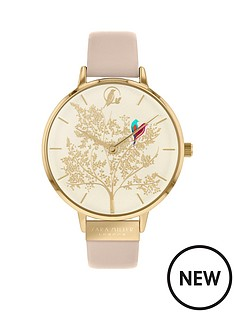 sara-miller-sara-miller-chelsea-white-and-gold-detail-love-birds-38mm-dial-nude-leather-strap-ladies-watch