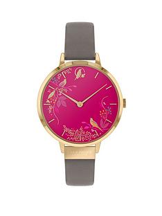 sara-miller-chelsea-pink-birds-and-gold-detail-34mm-dial-grey-leather-strap-ladies-watch-pink-grey
