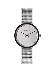 jigsaw-jigsaw-round-white-dial-with-grey-tortoise-shell-bezel-and-stainless-steel-mesh-strap-ladies-watch