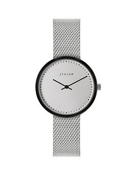 20340c41f16e JIGSAW Jigsaw Round White Dial with Grey Tortoise Shell Bezel and Stainless  Steel Mesh Strap Ladies Watch