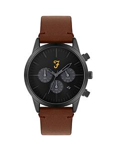 farah-farah-black-and-grey-detail-chronograph-dial-brown-leather-strap-mens-watch