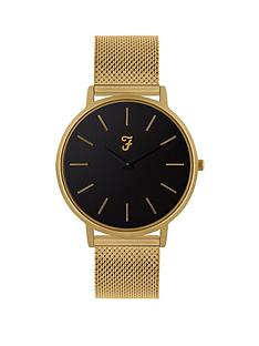 farah-farah-black-and-gold-detail-dial-gold-stainless-steel-mesh-strap-mens-watch