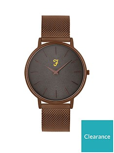 farah-farah-grey-and-bronze-detail-dial-bronze-stainless-steel-mesh-strap-mens-watch