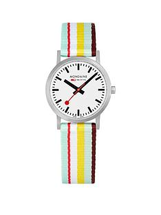 mondaine-mondaine-sbb-classic-white-30mm-dial-burgundy-multicolour-stripe-textile-strap-swiss-made-watch