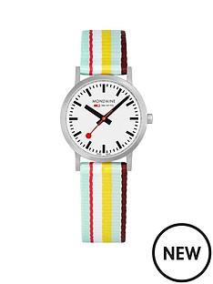 mondaine-mondaine-sbb-classic-white-30mm-dial-burgundy-multicolour-stripe-textile-strap-swiss-made-watch