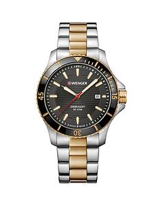 wenger-wenger-seaforce-black-and-gold-detail-date-43mm-dial-two-tone-stainless-steel-bracelet-swiss-made-mens-watch
