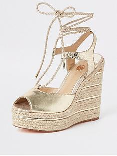 river-island-river-island-metallic-rope-tie-wedges-gold