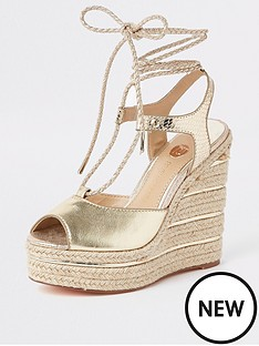 c43f32f190b River Island River Island Metallic Rope Tie Wedges - Gold