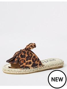 river-island-girls-leopard-print-espadrille-sliders-brown