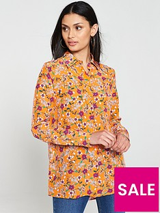 hugo-elifia-floral-print-shirt-orange