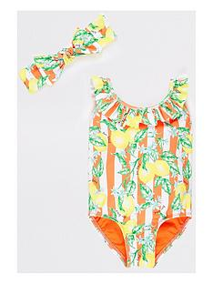 river-island-mini-girls-lemon-print-swimsuit-set-orange