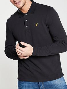 lyle-scott-long-sleeve-plain-polo-shirt-black