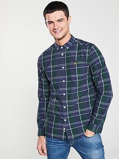 lyle-scott-poplin-checked-shirt-purplegreen