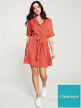 v-by-very-tie-waist-utility-dress-rose