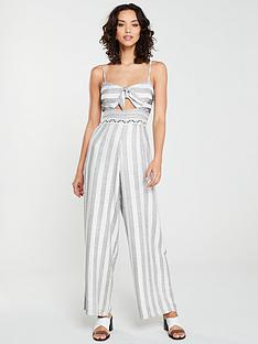 river-island-river-island-stripe-knot-front-beach-jumpsuit-cream