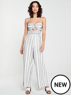 river-island-river-island-stripe-knot-front-beach-jumpsuit-cream