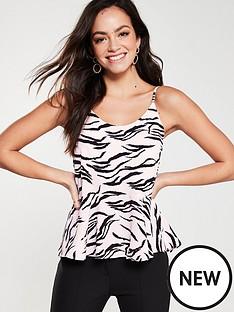a9d5dc091f9ed8 River Island Peplum Cami- Pink Zebra