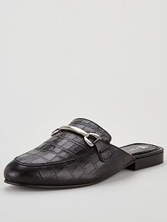 v-by-very-moscow-leather-backless-snaffle-trim-loafer-black
