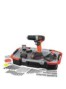 black-decker-18vnbsplithium-ion-cordless-drill-drive-with-2-batteries-amp-165-accessories-with-kitbox