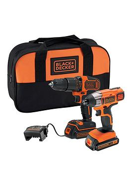 black-decker-18v-lithium-ion-twin-pack-kit-with-18v-hammer-drill-18v-impact-driver-2x-15ah-batteries-charger-amp-softbag
