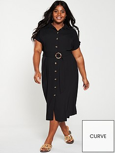 v-by-very-curve-button-through-shirt-dress-blacknbsp