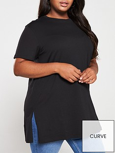 v-by-very-curve-step-hem-tunic-black
