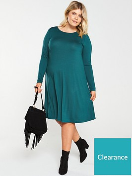 v-by-very-curve-long-sleeve-swing-dress-green