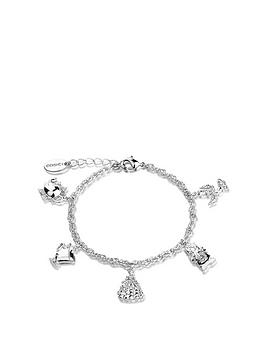 disney-disney-beauty-and-the-beast-14kt-white-gold-plated-charm-bracelet