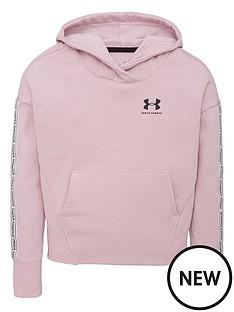 under-armour-girls-sportstyle-fleece-hoodie-pinkblack