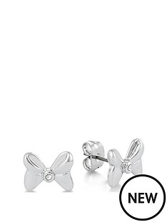 disney-disney-minnie-mouse-14kt-gold-plated-crystal-bow-stud-earrings