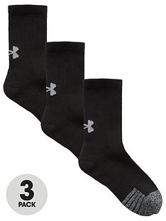 under-armour-youth-heatgear-crew-3-pack-socks-black
