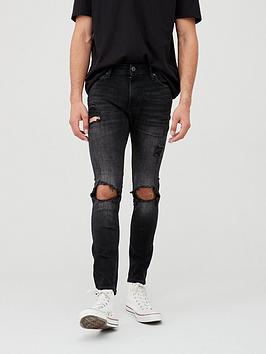 jack-jones-super-skinny-rip-amp-repair-jeans-black